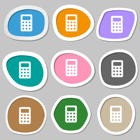 calc: Calculator, Bookkeeping icon symbols. Multicolored paper stickers. illustration