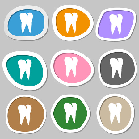 cavity braces: tooth icon. Multicolored paper stickers. illustration Stock Photo
