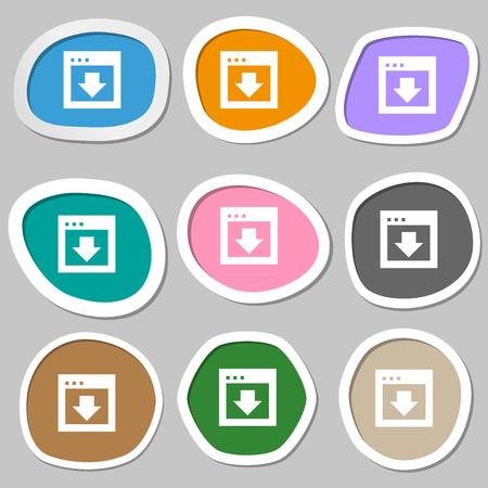 down load: Arrow down, Download, Load, Backup icon symbols. Multicolored paper stickers. illustration