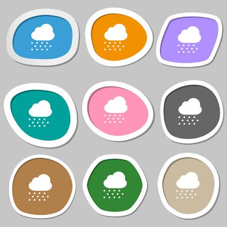 snowing: snowing icon symbols. Multicolored paper stickers. illustration Stock Photo