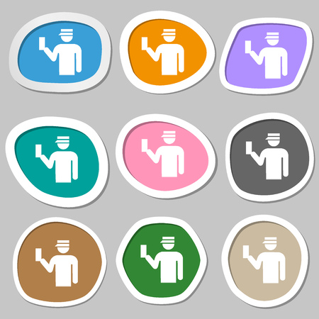 inspector: Inspector icon symbols. Multicolored paper stickers. illustration