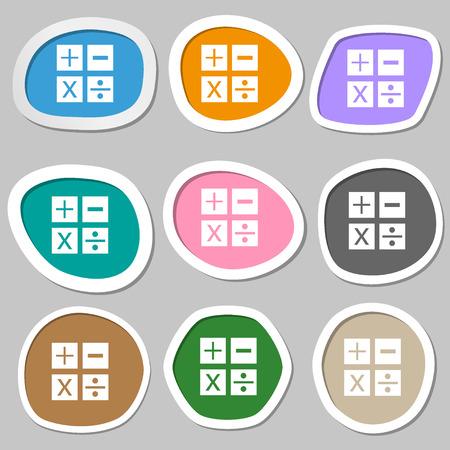 multiplicaci�n: Multiplicaci�n, divisi�n, m�s, menos icono Matem�ticas s�mbolo Matem�ticas. Pegatinas de papel multicolores. ilustraci�n
