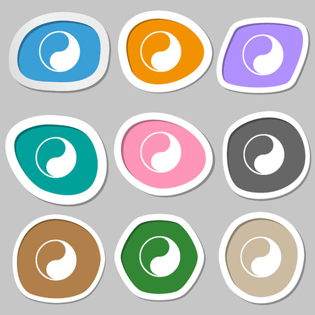 daoism: Yin Yang icon symbols. Multicolored paper stickers. illustration Stock Photo