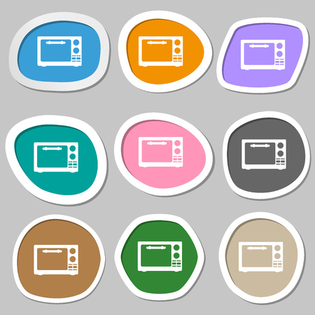 microwave stove: Microwave oven sign icon. Kitchen electric stove symbol. Multicolored paper stickers. illustration