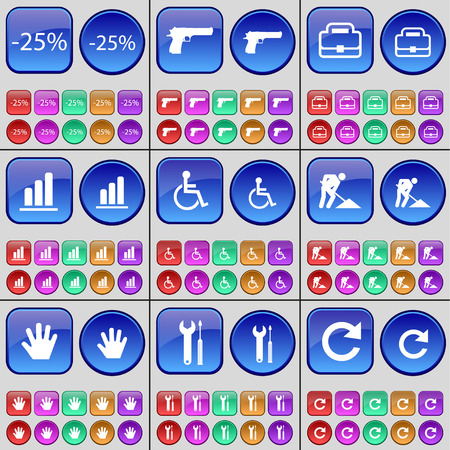 disabled person: Discount, Gun, Case, Diagram, Disabled person, Road works, Hand, Wrench, Reload. A large set of multi-colored buttons. Vector illustration