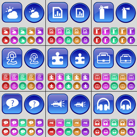 fire extinguisher: Cloud, Diagram file, Fire extinguisher, Pound, Puzzle, Suitcase, Chat bubble, Trumpet, Headphones. A large set of multi-colored buttons. Vector illustration