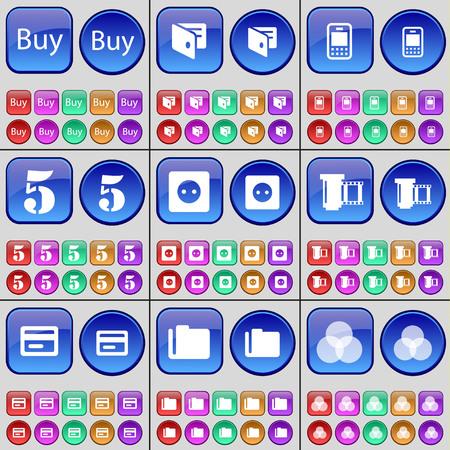 rgb: Buy, Wallet, Mobile phone, Five, Socket, Negative films, Credit card, Folder, RGB. A large set of multi-colored buttons. Vector illustration