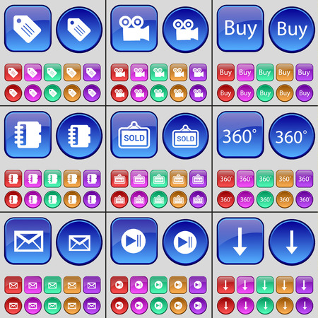arrow down: Tag, Film camera, Buy, Notebook, Sold, 360, Message, Media skip, Arrow down. A large set of multi-colored buttons. Vector illustration