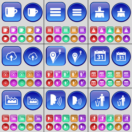 checkpoint: Cup, List, Brush, Cloud, Checkpoint, Calendar, Graph, Talk, Silhouette. A large set of multi-colored buttons. Vector illustration Illustration