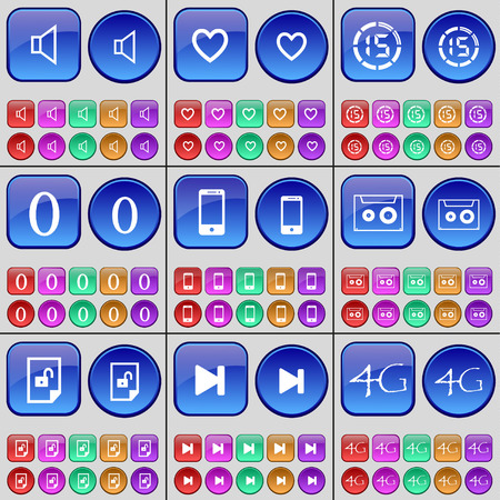 skip: Sound, Heart, Countdown, Zero, Smartphone, Cassette, File, Media skip, 4G. A large set of multi-colored buttons. Vector illustration