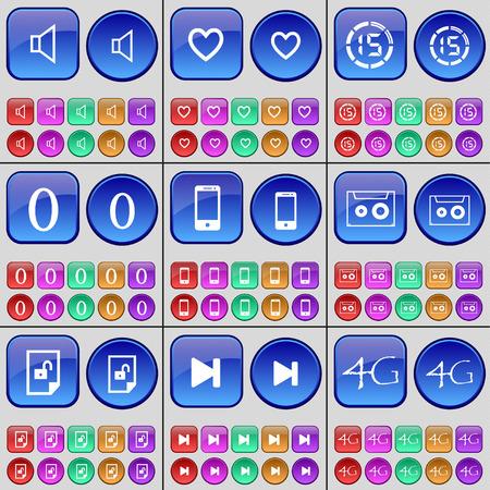 skip: Sound, Heart, Countdown, Zero, Smartphone, Cassette, File, Media skip, 4G. A large set of multi-colored buttons. Vector illustration
