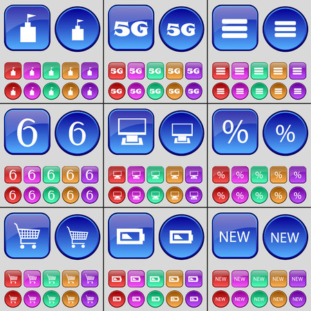 5g: Flag tower, 5G, Apps, Six, Monitor, Percent, Shopping cart, Battery, New. A large set of multi-colored buttons. Vector illustration