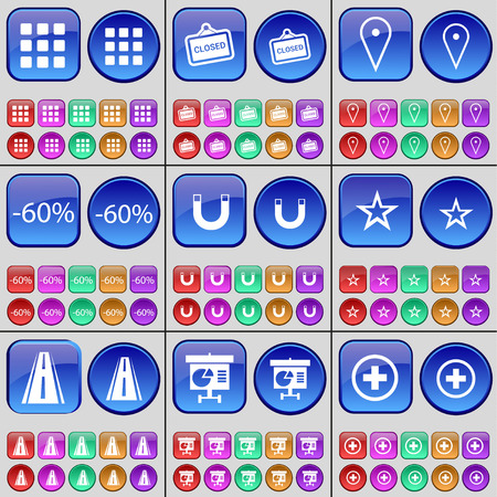 road closed: Apps, Closed, Checkpoint, Discount, Magnet, Star, Road, Diagram, Plus. A large set of multi-colored buttons. Vector illustration Illustration