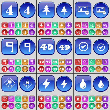 slope: Four, Fir tree, Picture, Nine, 4D, Tick, Slippery slope, Flash, Drop. A large set of multi-colored buttons. Vector illustration