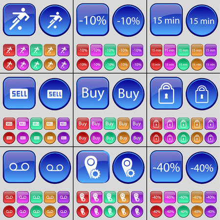 checkpoint: Football, Discount, 15 minutes, Sell, Buy, Lock, Cassette, Checkpoint. A large set of multi-colored buttons. Vector illustration