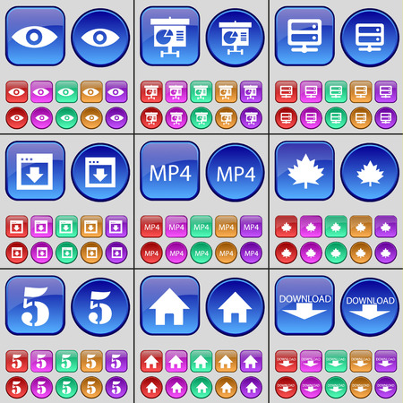 mp4: Vision, Diagram, Server, Window, MP4, Maple leaf, Five, House, Download. A large set of multi-colored buttons. Vector illustration Illustration