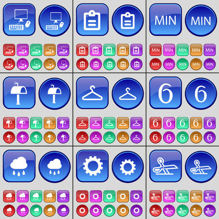 min: PC, Survey, MIN, Mailbox, Hanger, Six, Cloud, Gear, Scissors. A large set of multi-colored buttons. Vector illustration Illustration
