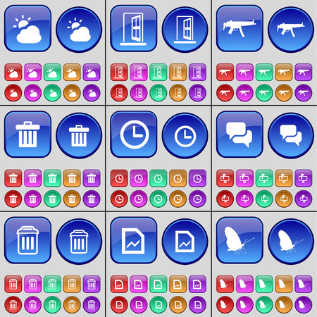 trash can: Cloud, Door, Semi, Trash can, Clock, Chat, Trash can, Graph, Butterfly. A large set of multi-colored buttons. Vector illustration