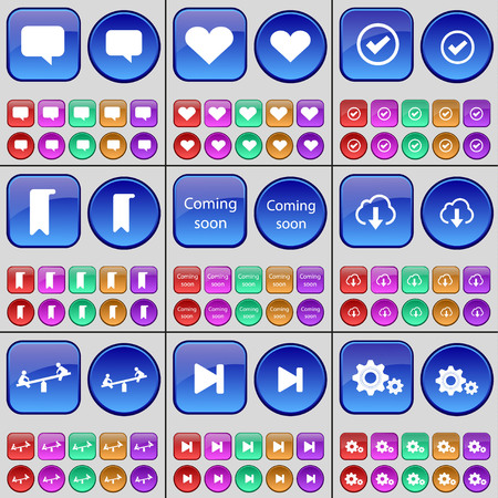 chat bubble: Chat bubble, Heart, Tick, Marker, Coming soon, Cloud, Swing, Media skip, Gear. A large set of multi-colored buttons. Vector illustration