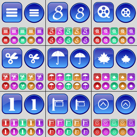 arrow up: Apps, Eight, Videotape, Scissors, Umbrella, Maple leaf, One, Sign, Arrow up. A large set of multi-colored buttons. Vector illustration Illustration