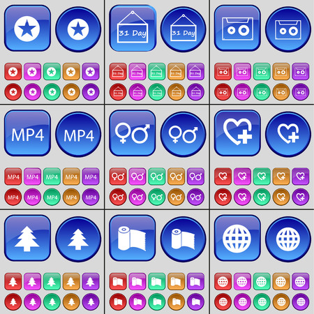 31: Star, 31 day, Cassette, MP4, Gender symbols, Heart, Fir tree, Paper towel, Globe. A large set of multi-colored buttons. Vector illustration