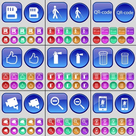 qrcode: SIM card, Blind, QR-code, Like, Fire extinguisher, Trash can, CCTV, Magnifying glass, Smartphone. A large set of multi-colored buttons. Vector illustration