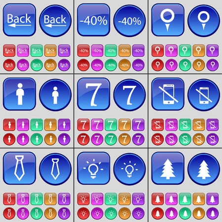 firtree: Back, Discount, Checkpoint, Silhouette, Seven, Smartphone, Tie, Light bulb, Firtree. A large set of multi-colored buttons. Vector illustration