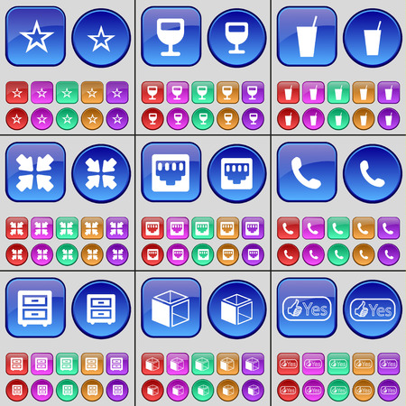 lan: Star, Wineglass, Drink, Deploying screen, Lan socket, Receiver, Bed table, Box, Yes. A large set of multi-colored buttons. Vector illustration Illustration