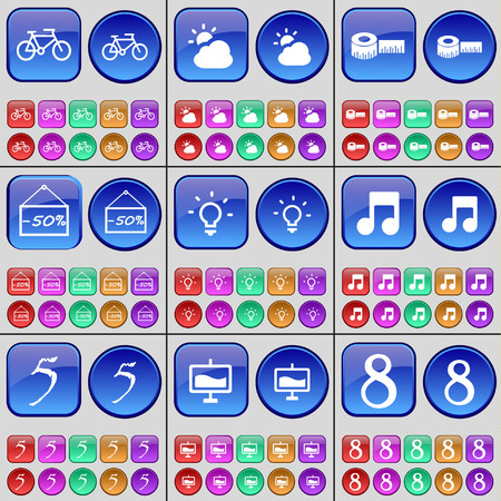 eight note: Bicycle, Cloud, Tape measure, Discount, Light bulb, Note, Five, Graph, Eight. A large set of multi-colored buttons. Vector illustration Illustration