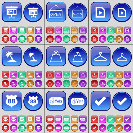 open file: Diagram, Open, Media file, Palm, Weight, Hanger, Badge, Like, Tick. A large set of multi-colored buttons. Vector illustration