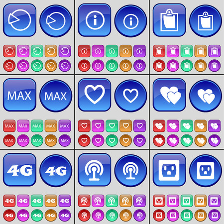 max: Diagram, Information, Survey, Max, Heart, 4G, Wi-Fi, Socket. A large set of multi-colored buttons. Vector illustration Illustration