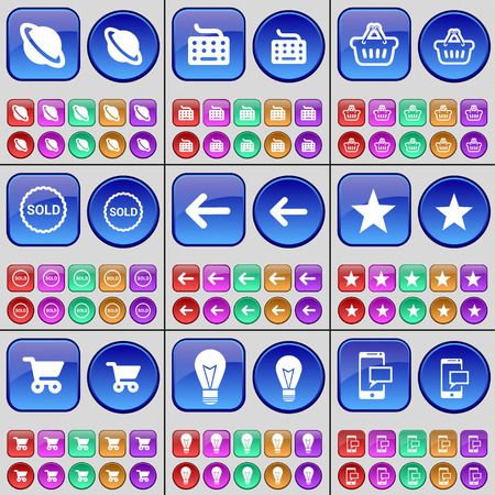 shooter: Planet, Keyboard, Basket, Sold, Arrow left, Star, Shooter, Light bulb, SMS. A large set of multi-colored buttons. Vector illustration
