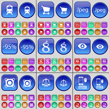 jpeg: Train, Shopping cart, Jpeg, Discount, Eight, Vision, Speaker, Scales, Smartphone. A large set of multi-colored buttons. Vector illustration
