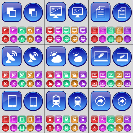 satellite dish: Copy, Monitor, Text file, Satellite dish, Cloud, Laptop, Tablet PC, Train, Back. A large set of multi-colored buttons. Vector illustration Illustration