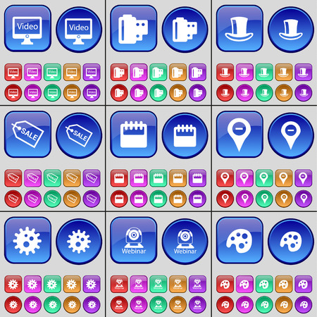 checkpoint: Monitor, Negative films, Silk hat, Sale, Calendar, Checkpoint, Gear, Webinar, Palette. A large set of multi-colored buttons. Vector illustration Illustration