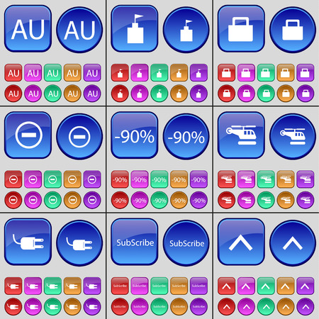 lock up: AU, Flag tower, Lock, Minus, Discount, Helicopter, Socket, Subscribe, Arrow up. A large set of multi-colored buttons. Vector illustration Illustration