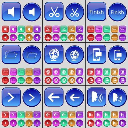 arrow right: Sound, Scissors, Finish, Folder, Globe, SMS, Arrow right, Arrow left, Talk. A large set of multi-colored buttons. Vector illustration
