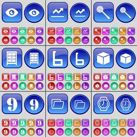 skimmer: Vision, Graph, Skimmer, Archive, Six, Box, Nine, Folder, Wrist watch. A large set of multi-colored buttons. Vector illustration Illustration
