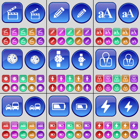 orologio da polso: Clapper, Pencil, Font, Pizza, Wrist watch, Avatar, Transport, Battery, Flash. A large set of multi-colored buttons. Vector illustration
