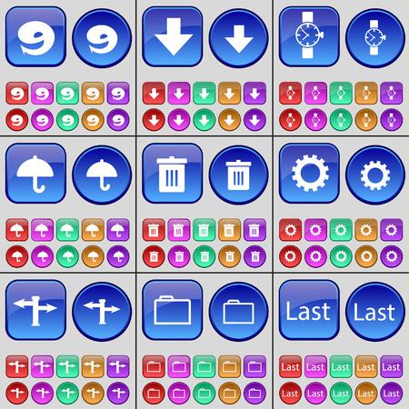 orologio da polso: Nine, Arrow down, Wrist watch, Umbrella, Trash can, Gear, Signpost, Folder, Last. A large set of multi-colored buttons. Vector illustration