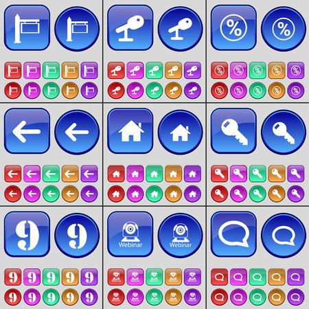 chat bubble: Signpost, Microphone, Pecent, Arrow left, House, Key, Nine, Webinar, Chat bubble. A large set of multi-colored buttons. Vector illustration