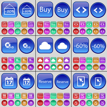 reserve: Discount, Buy, Code, DVD, Cloud, Discount, Calendar, Reserve, Cursor. A large set of multi-colored buttons. Vector illustration