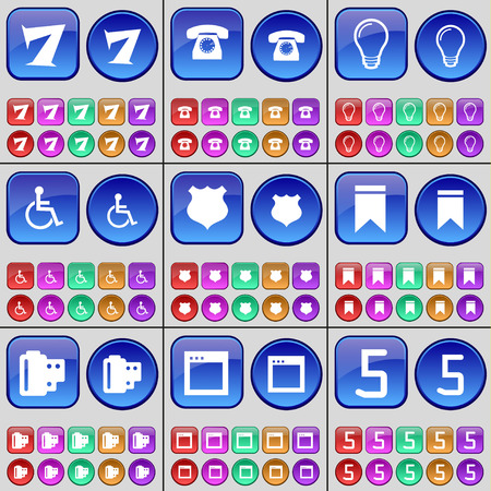 personne handicap�e: Seven, Phone, Light bulb, Disabled person, Police badge, Marker, Negative films, Window, Five. A large set of multi-colored buttons. Vector illustration