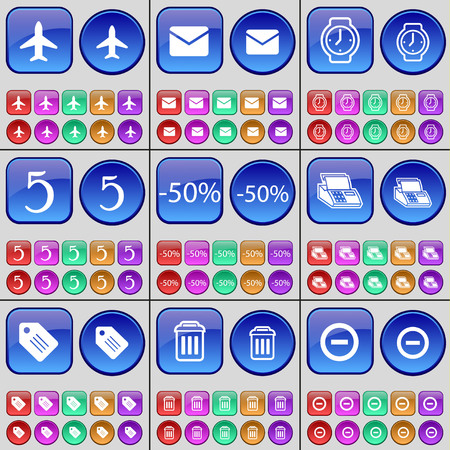 orologio da polso: Airplane, Message, Wrist watch, Five, Discount, Fax, Tag, Trash can, Minus. A large set of multi-colored buttons. Vector illustration