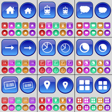 arrow right: House, Train, Cloud, Arrow right, Diagram, Moon, Bar code, Checkpoint, Apps. A large set of multi-colored buttons. Vector illustration