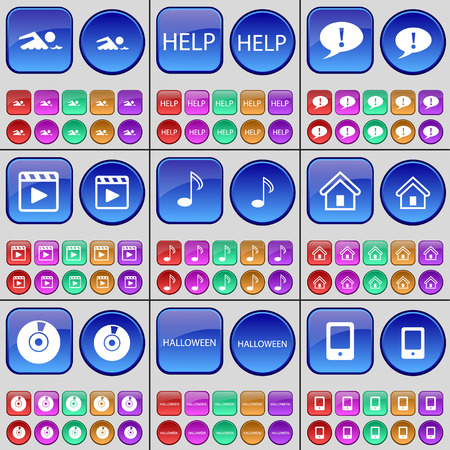 chat bubble: Swimmer, Help, Chat bubble, Media player, Note, House, Disk, Halloween, Mobile phone. A large set of multi-colored buttons. Vector illustration