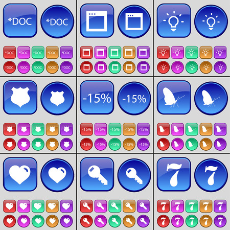 window light: Document, Window, Light bulb, Police badge, Discount, Butterfly, Heart, Key, Seven. A large set of multi-colored buttons. Vector illustration