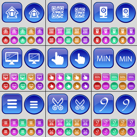 min: House, QR-code, Speaker, Monitor, Hand, MIN, Apps, Scissors, Nine. A large set of multi-colored buttons. Vector illustration