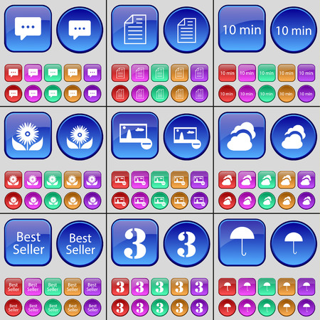 flower seller: Chat bubble, Text file, 10 minutes, Flower, Picture, Cloud, Best Seller, Three, Umbrella. A large set of multi-colored buttons. Vector illustration