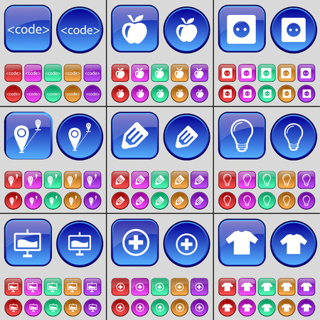 enchufe de luz: C�digo, Apple, Toma, Ruta, L�piz, Bombilla, Gr�fico, Adem�s, la camiseta. Un gran conjunto de botones multicolores. Ilustraci�n vectorial